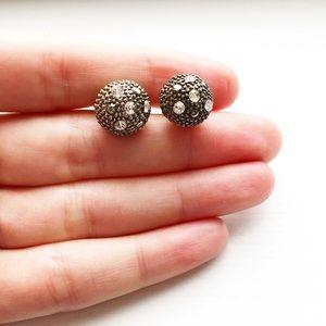 "Silver & diamond bauble ""disco ball"" stud earrings"